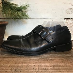 J. Murphy Black Mens Monk Strap Dress Shoes 10M